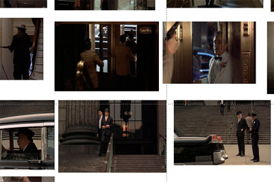 Screen captures from the baptism/murder sequence of The Godfather, dir. F. F. Coppola