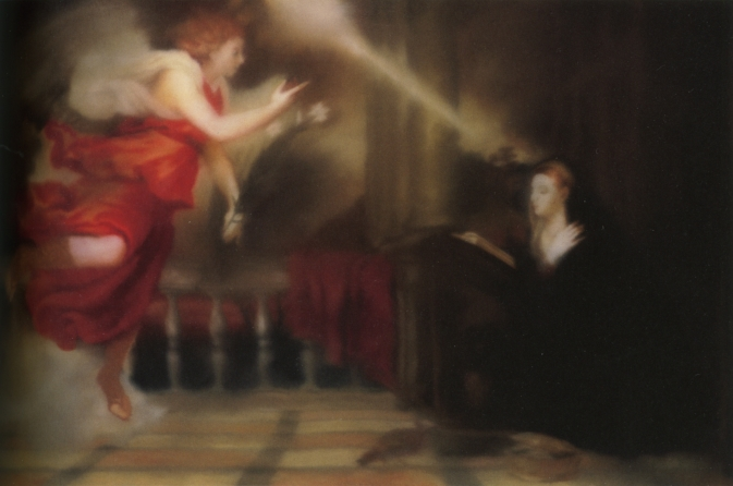an image of gerhard richter's painting Annunciation after Titian (1973), which is a blurry rendition of a red-robed angel alighting from the left, and a kneeling Mary on the right, set on a classically styled terrace, with beams of light between and around them, but printed and mounted between plexi and aluminum in an edition of 53