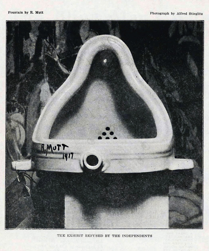 marcel duchamp's fountain, photographe by alfred stieglitz, and published in the blind man, 1917