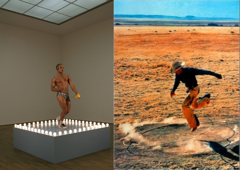 a muscly guy in silver hot pants dancing on a raised platform surrounded by light bulbs for a Sturtevant repetition of a Felix Gonzalez-Torres Go-go Dancing Platform piece, paired with a blasted out, pixelated image of a cowboy jumping over a lasso, which is a jpg of a Richard Prince cowboy work, based on a Marlboro cigarettes ad, reappropriated as a digital work titled 300x404, based on the size of the little jpg.